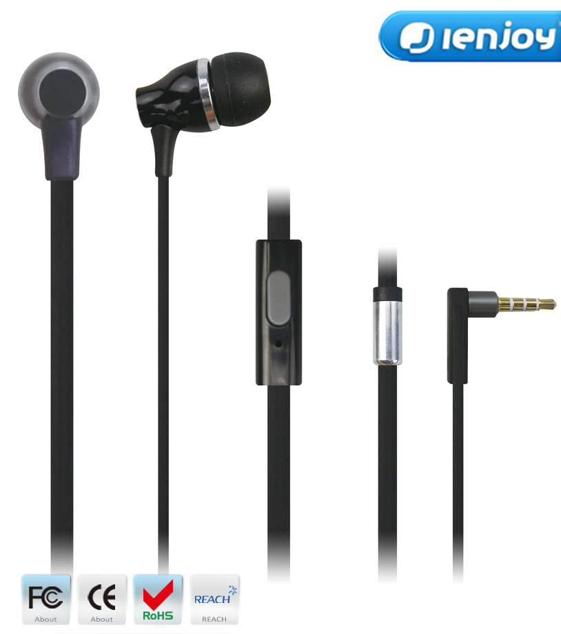 ienjoy best customized logo metal earphone wired headset for laptop cellphone