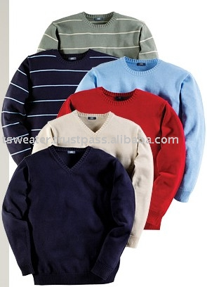 Men's all season Solid & Stripe Pullover Sweater