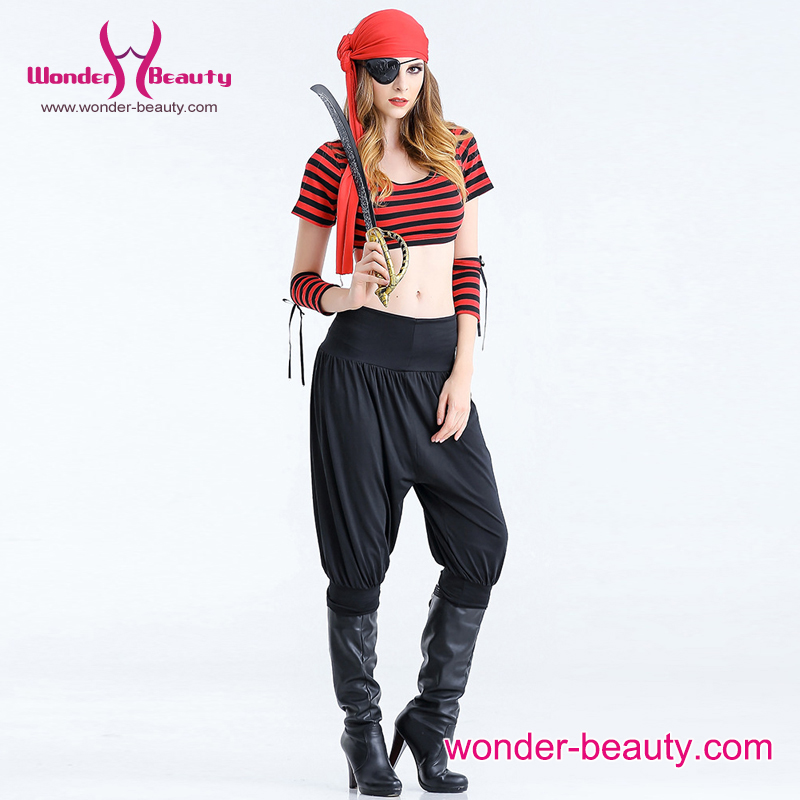 Two Pieces Jumpsuit One Eye Blinder Sexy Women Pirate Costume