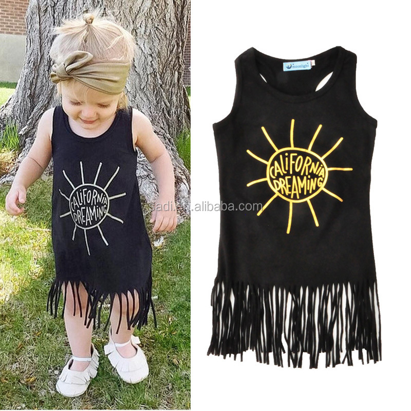 Fashion Baby Dress Girl Princess Gold Letters Girl Black Dress with Long Tassels of 2-9 Years Old