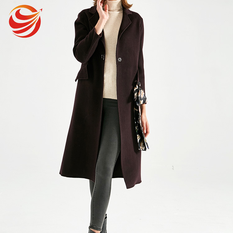 Luxury elegant fitted long section woolen coat with printed belt for women