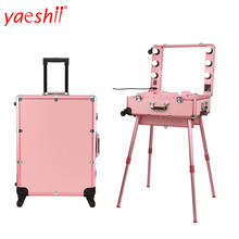yashii 2018 professional makeup trolley case with lights