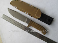 heavy duty desert color tactical combat knife with plastic nylon sheath