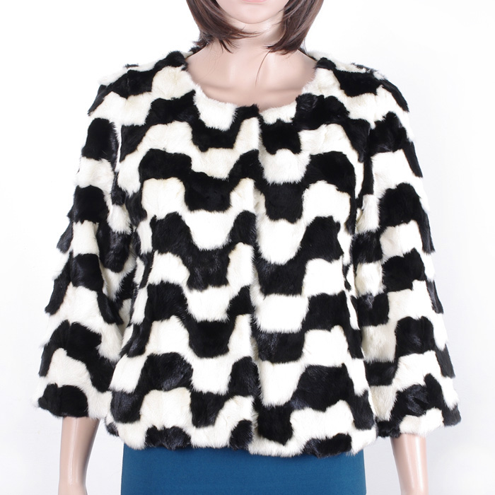 Cute Trend New Design Mink Fur Short Coat/Jacket Black And White Clever Collection KZ150131