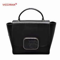 VICCIRAIA Black Women Bussiness Handbag Lady Totes Bags PU Handbags