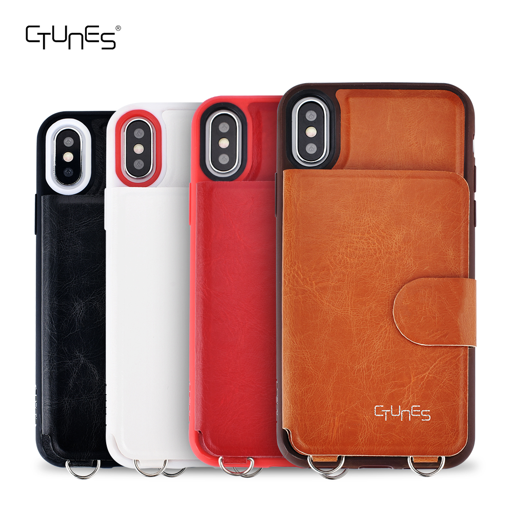 CTUNES Leather Hard Slim Crossbody Credit Card Holder Wallet Mobile Phone Case Cover For iPhone X
