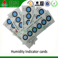 Blue brown and yellow Hic available combalt free humidity indicator card