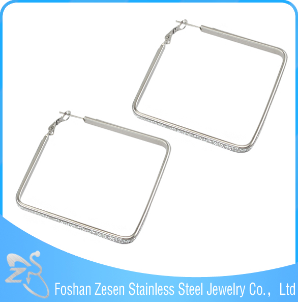 ZS17275 stainless steel glittery sandpaper earring designs square jhumka earrings big