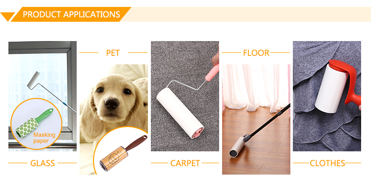 home cleaning custom logo cylinder shaped masking paper floor lint roller