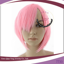 light pink heat resistant short synthetic cosplay wig