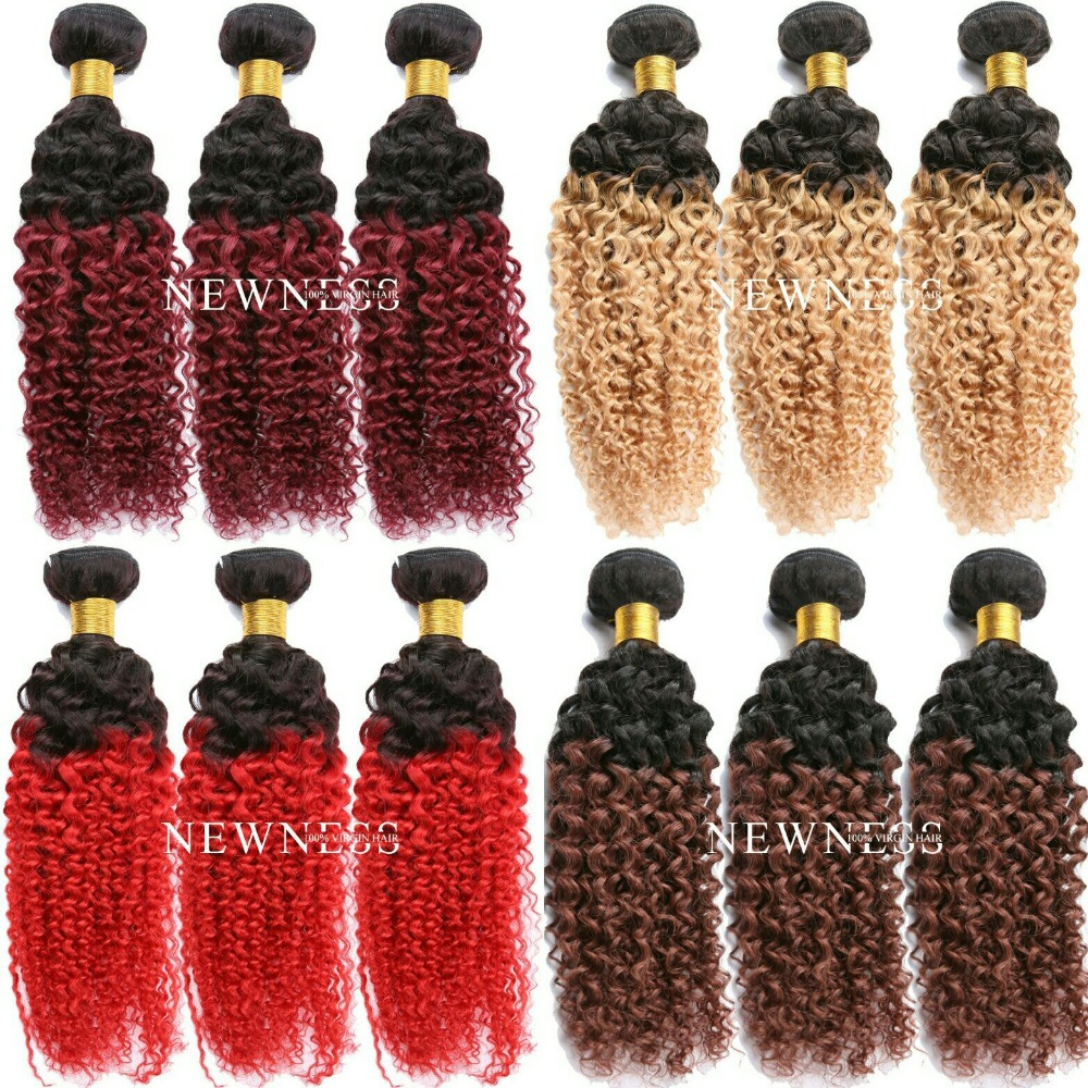 Brazilian hair, human hair bulk, brazilian deep curly ombre hair weave ombre bundles hair weaves