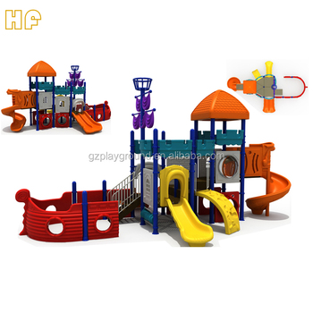 Children pirate ship themed children park with plastic slide kindergarten outdoor playground