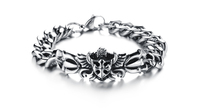 vintage silver 316L stainless steel chain link cross biker bracelet