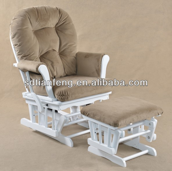 Wooden Reclining Rocking Chair with ottoman