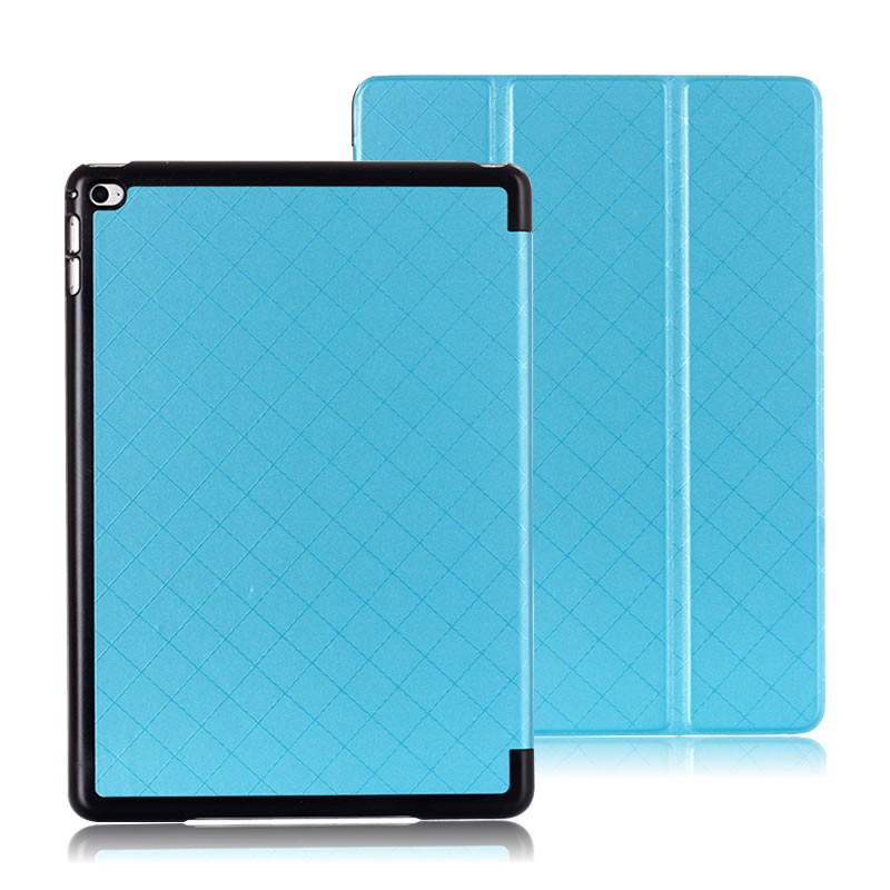 Pure color grid pattern flip stand tablet PU case for iPad Air 2,for iPad 6 cover case