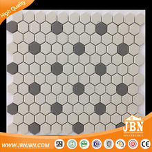 Cheap price mixed beige small hexagon USA 300x300mm ceramic mosaic tile (C555024)