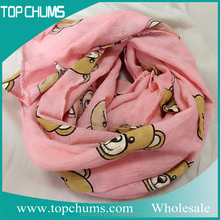 cheap top selling made lovely style linen multicolor kid chlidren Circle muffler neck scarf