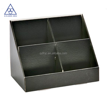 Matt black corrugated cardboard display tray with dividers