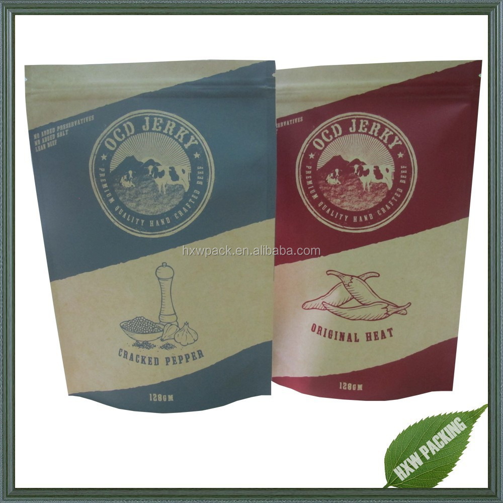 Food grade heat seal kraft paper bag for beef jerky packaging