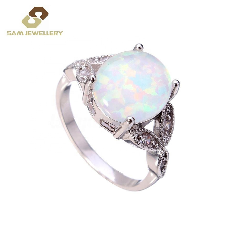 Fashion Sterling 925 Silver Big Oval Synthetic Oval Opal Infinity Knot <strong>Ring</strong> For women's Jewelry