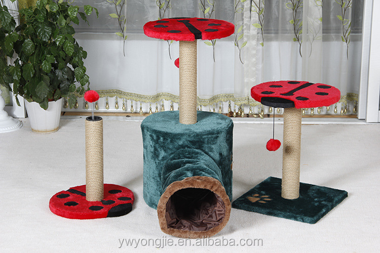 YongJie Wholesale Cat Toy Sisal Little Cat Scratching Tree With Tunnel