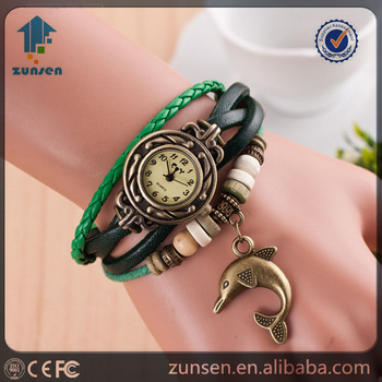 2016 Hot Selling New Colorful Wristwatches Women Dolphin Pendant Watch Vintahe Leather Bracelet Watches