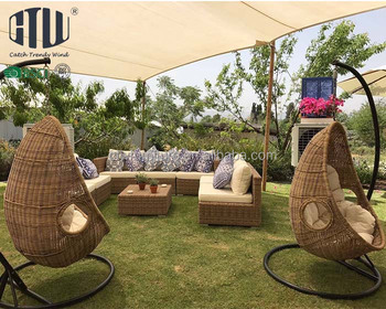 Rattan outdoor swing wicker egg patio chair