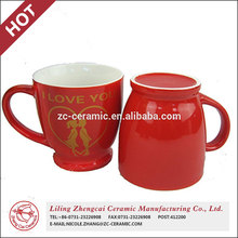 China factory wholesale red wedding couple ceramic cup