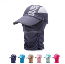 hight quality light sun protection with flap cover on front and back cap and hat