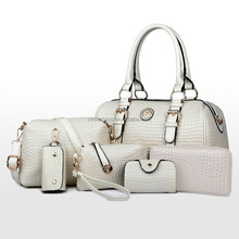 Wholesale new product pu leather lady handbag bag purses women set bag 6pcs dubai handbags