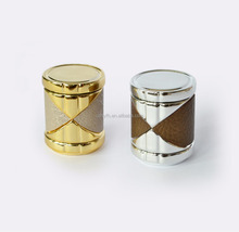 Hot Sale Spraying Gold And Sliver Acrylic Cap With Decorated Leather For Perfume Glass Bottle