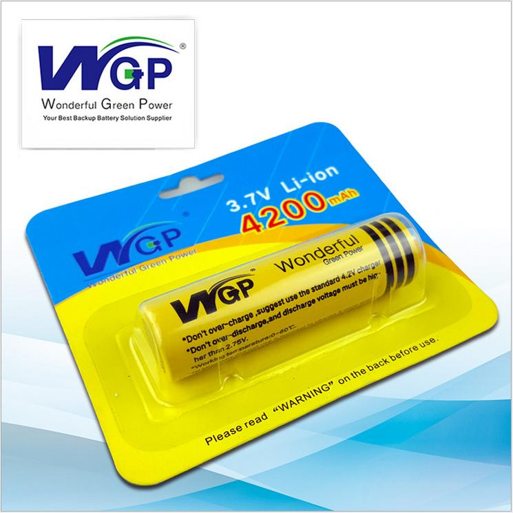 Brand name WGP 18650 Lithium ion cylindrical rechargeable and wonderful battery 3.7 voltage for small flashlight