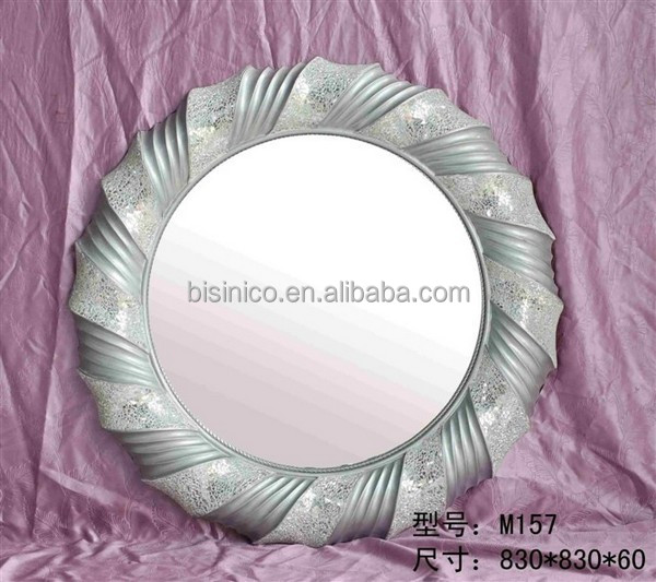 New Arrival Wreath Design Silver Mosaic Glass Frame Mirror, Home Decorative Art, 100% Handmade BF02-M157