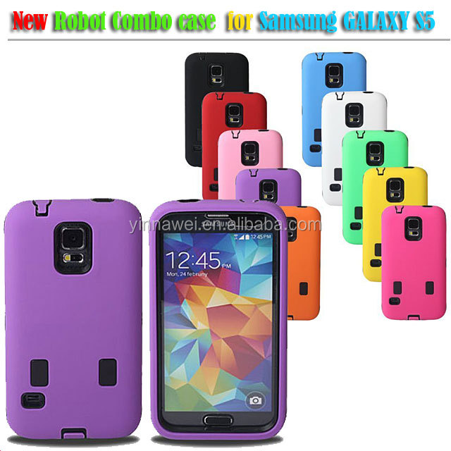 Cell Phone Robot Combo Case for Samsung Galaxy S5 i9600 custom silicone phone case