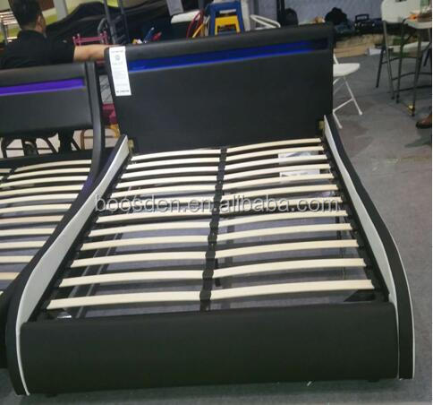 modern curve upholstery bed design pu LED leather bed BSD-450261