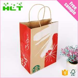 Custom fashion flat handle decoration handmade brown packing paper shopping grocery bag with window