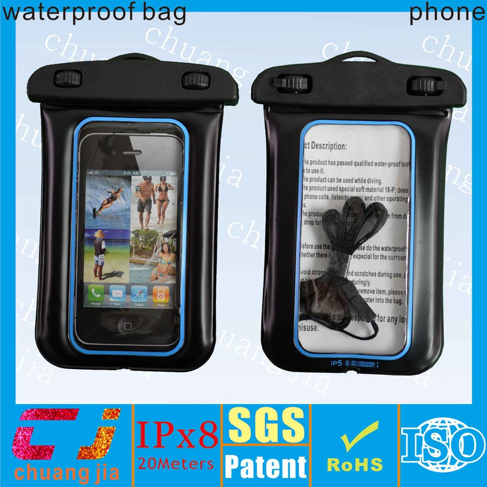 for iphone 5 swimming waterproof bag with earphone