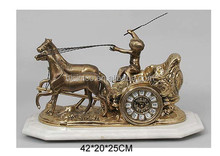 Unique Design Bronze Carriage Table Clock With Marble Pedestal, Luxury Home Decorative Copper Clock