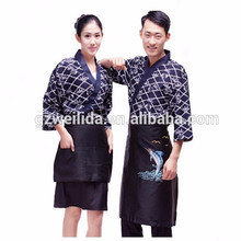 Japanese Style Chef Uniform with Embroidery 100% Polyester Restaurant Waiter Work Clothes OEM