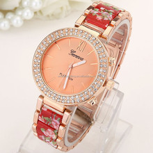 geneva crystal diomand around model lady stainless steel watch