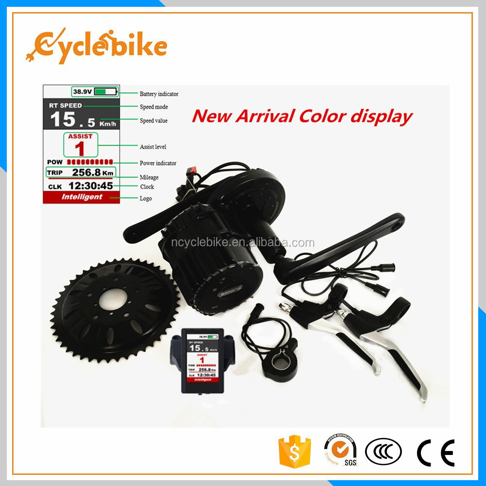 New color lcd display BBS02 mid drive motor e bike kit Brushless Geared