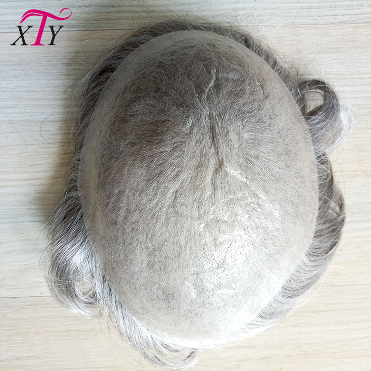 Factory direct price Indian remy human hair super thin skin mens toupee with gray hair