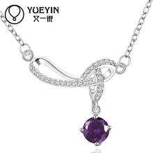 Popular Anti-allergic Purple Gemstone And Silver Jewelry Design