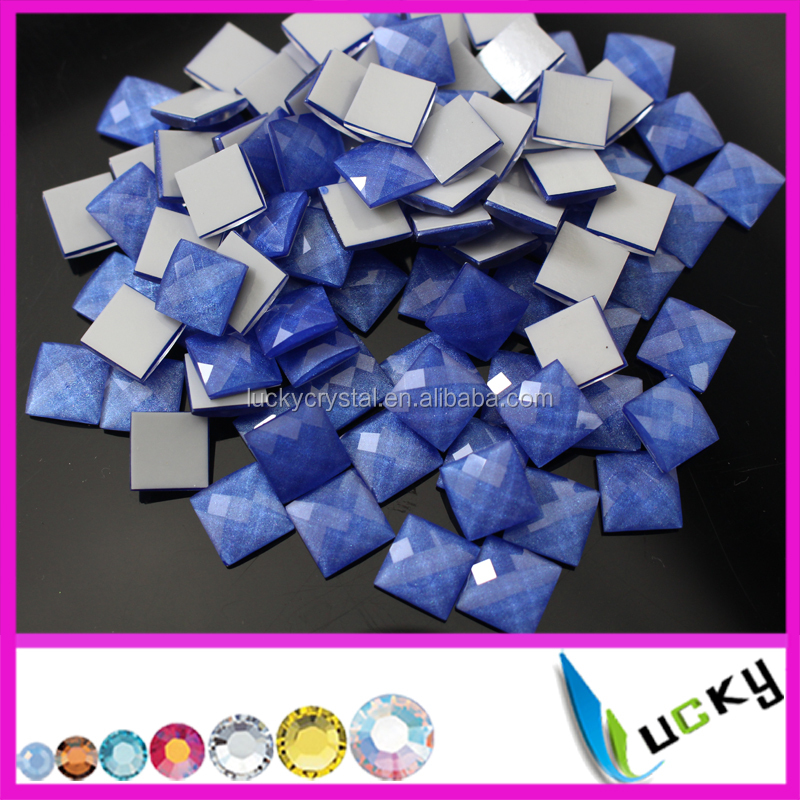 Korean quality Neon blue Square shape facted hotfix epoxy resin pearl