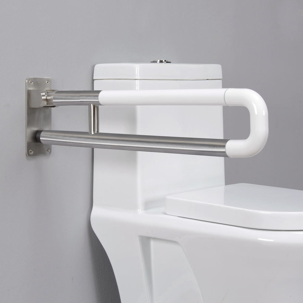Wall mounted nylon and SS304 combined folding bathroom grab bars for disabled