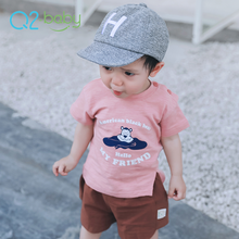 Q2-baby Cute Baby Boys Clothes New Model Short Sleeve Cotton T Shirts
