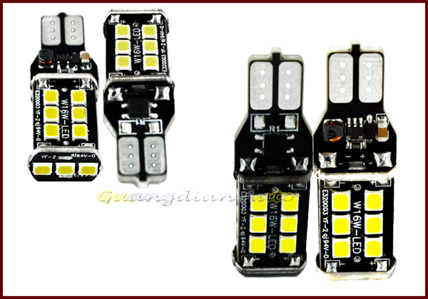 Auto led light 2835 chip t15 2835 15smd 8w 9-30v super bright easy install led lights 12v car