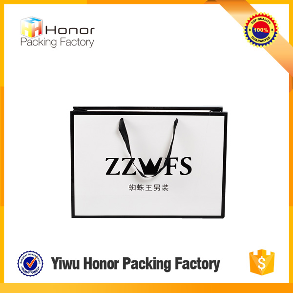 2016 Yiwu High Quality Paper Shopping Bag Printing,White Bag Clothes Use Supplier