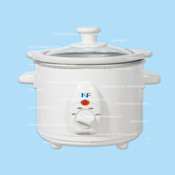 Chinese multifunction ceramic crock best small with timer tempered glass 1.5qt Round Slow Cooker