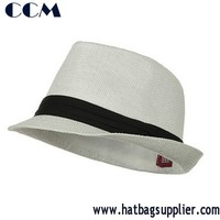 Solid Band Summer Straw Fedora